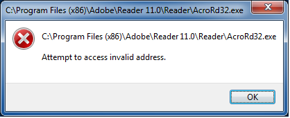 adobe reader erro rmessage